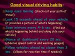 good visual driving habits