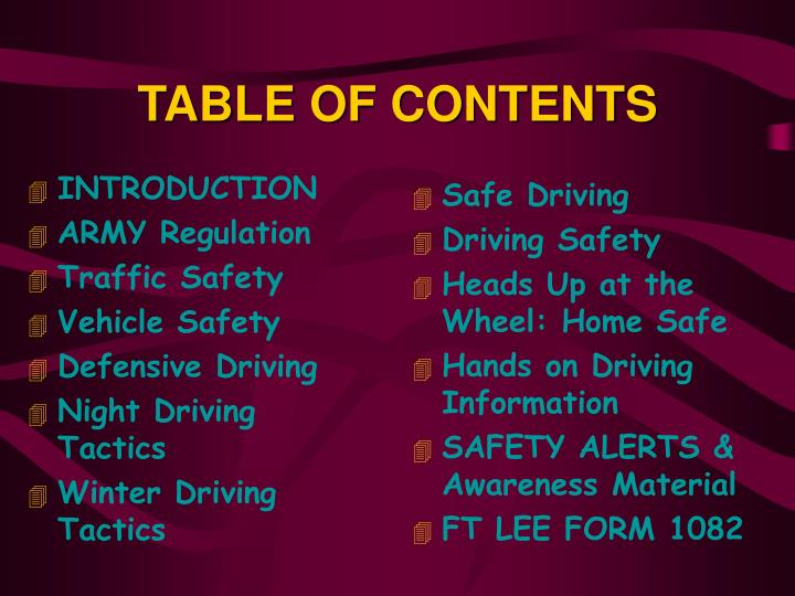INTRODUCTION. ARMY Regulation. Traffic Safety. Vehicle Safety. Defensive Driving