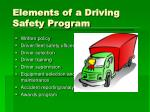 elements of a driving safety program