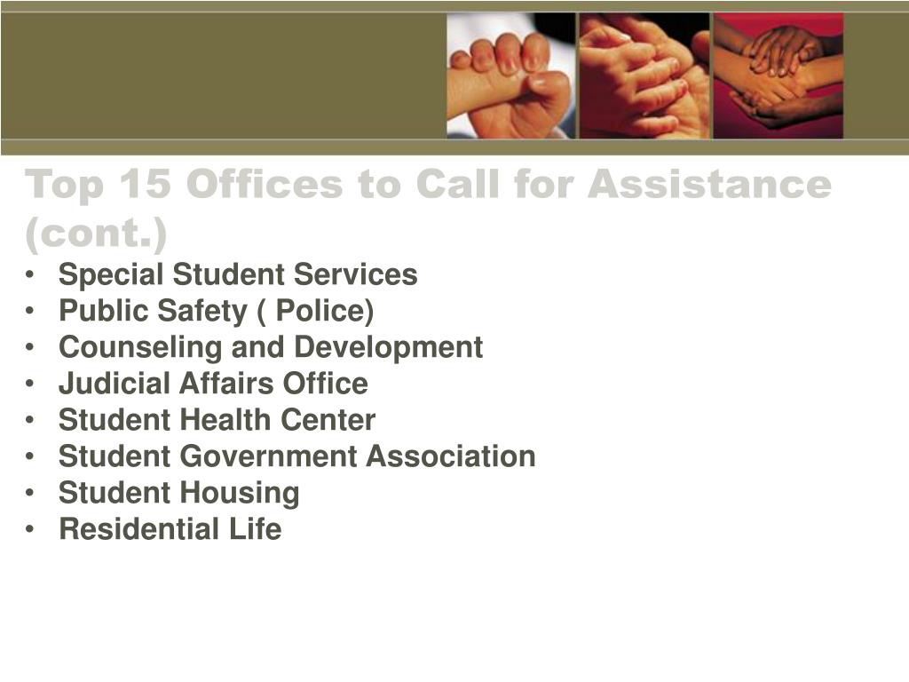 Top 15 Offices to Call for Assistance (cont.)