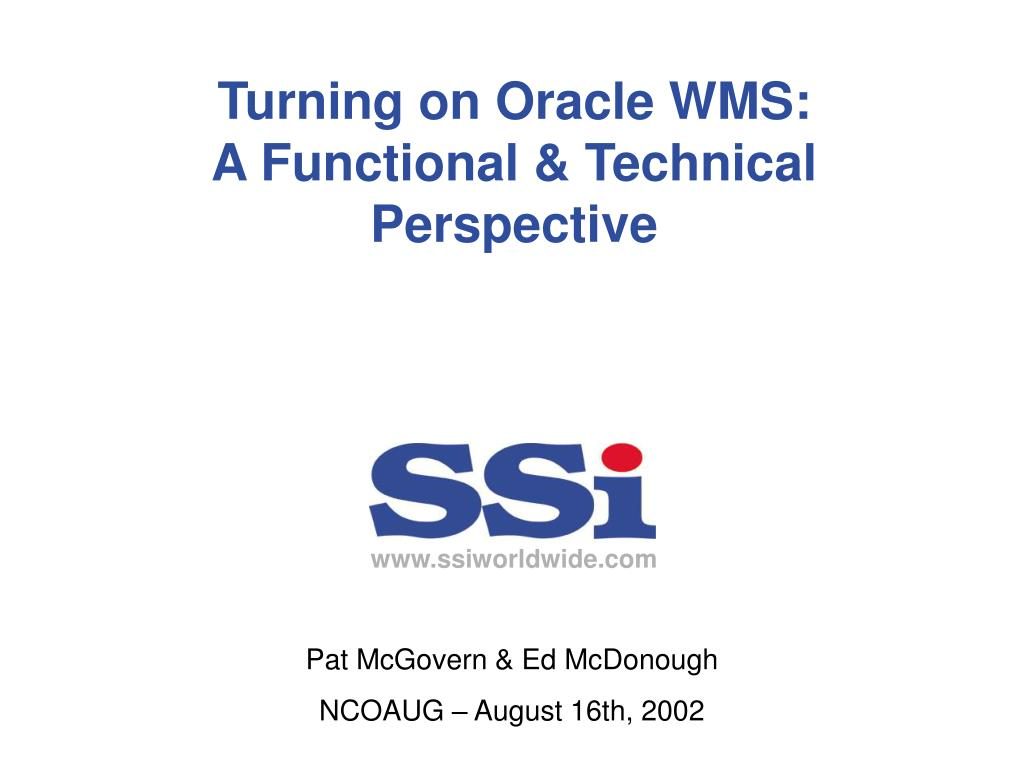 turning on oracle wms a functional technical perspective l.