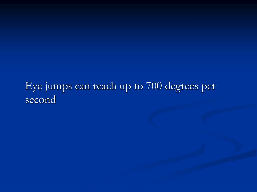 Eye jumps can reach up to 700 degrees per second