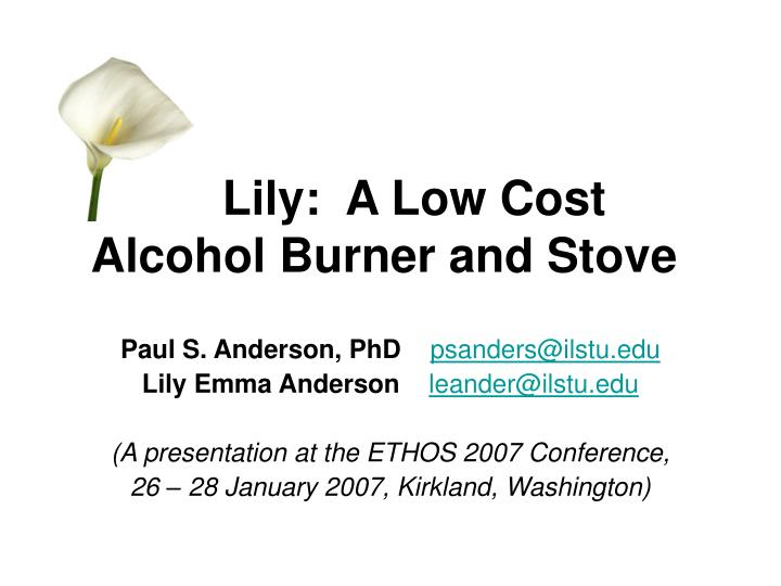 lily a low cost alcohol burner and stove n.