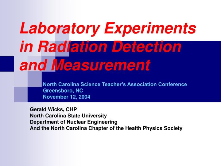 laboratory experiments in radiation detection and measurement n.