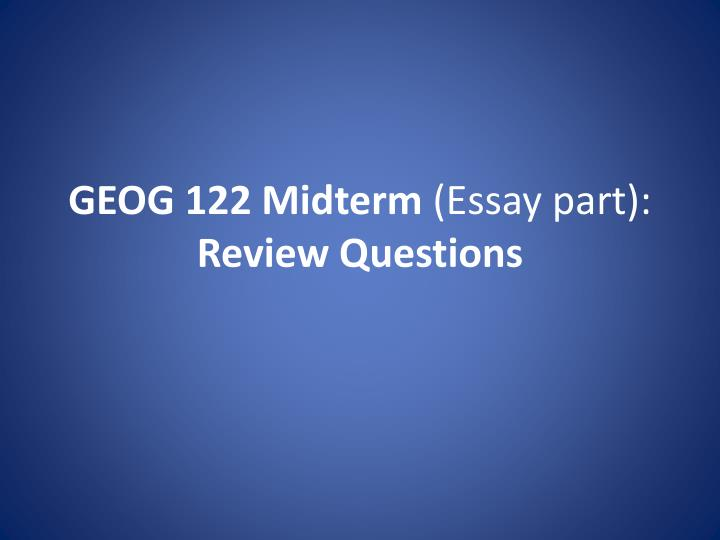 midterm 1 review questions Mg 495 midterm essay 2771 words | 12 pages mg-495 midterm examination mg - 495 business policy mid-term examination - (chapters 1 - 5 are covered) there are 25 multiple choice questions (each worth 3 points) and 5 short answer/essay questions (each worth 9 points) for a total of 120 possible points.