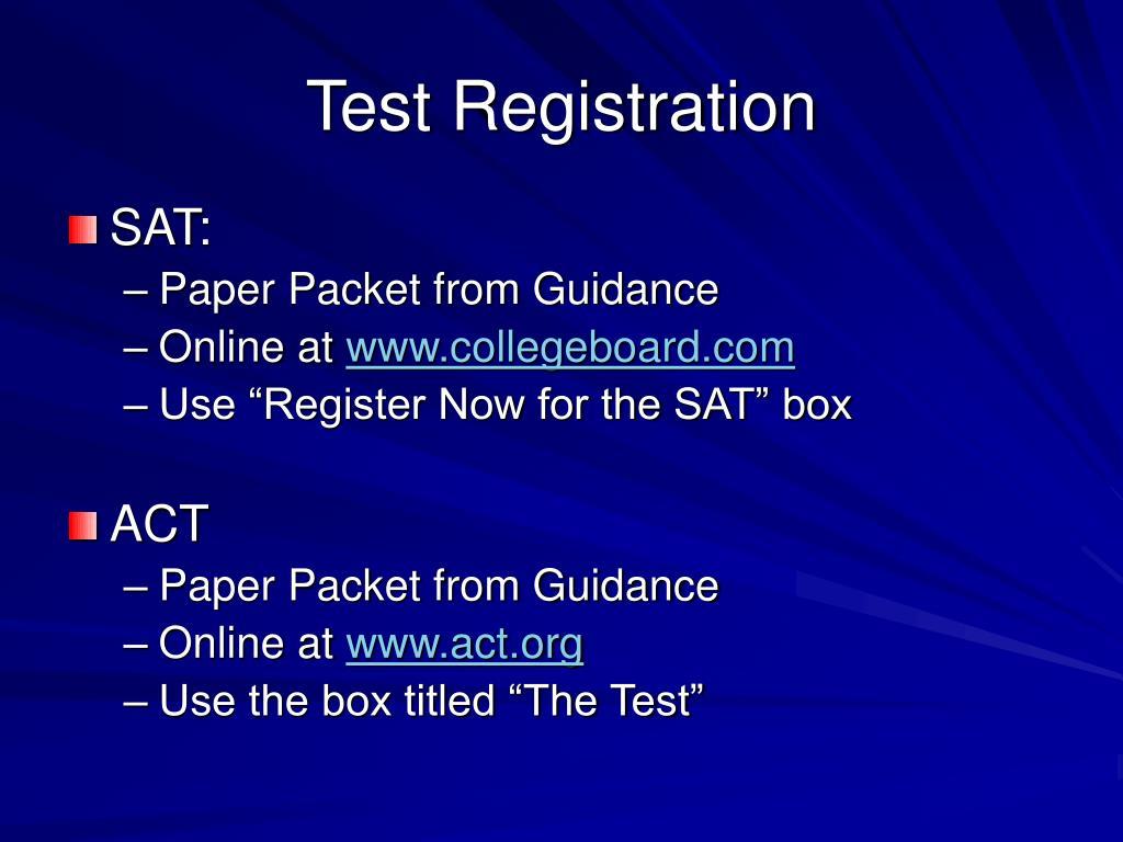Test Registration