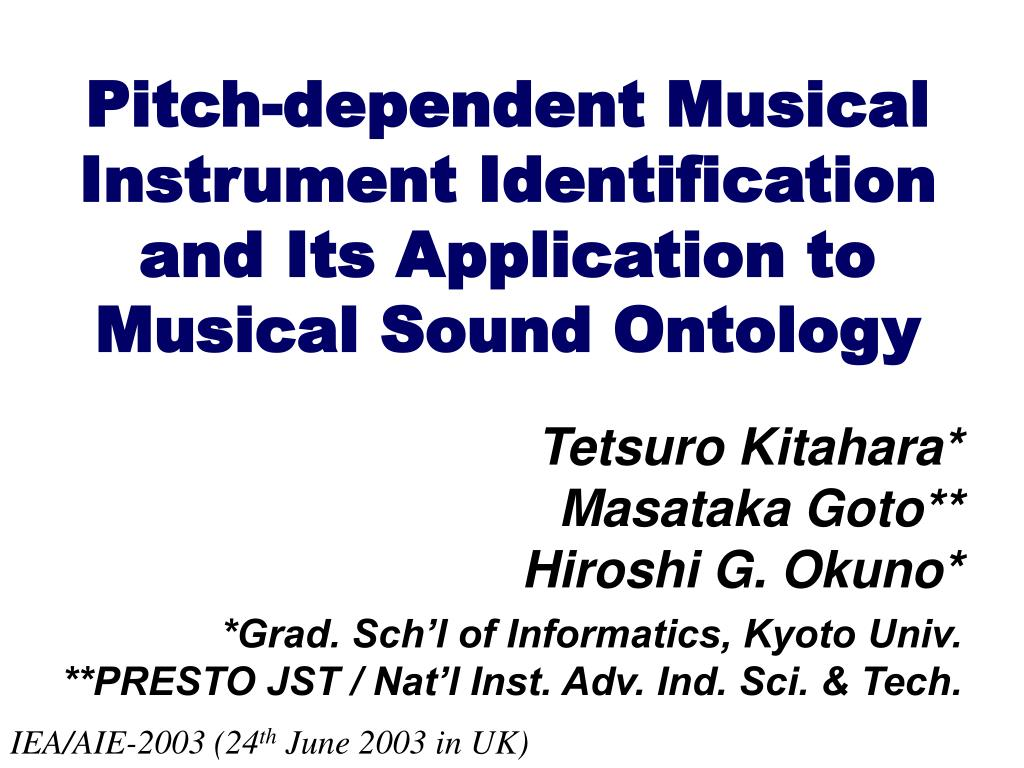 pitch dependent musical instrument identification and its application to musical sound ontology l.