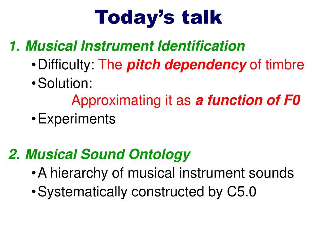 Today's talk