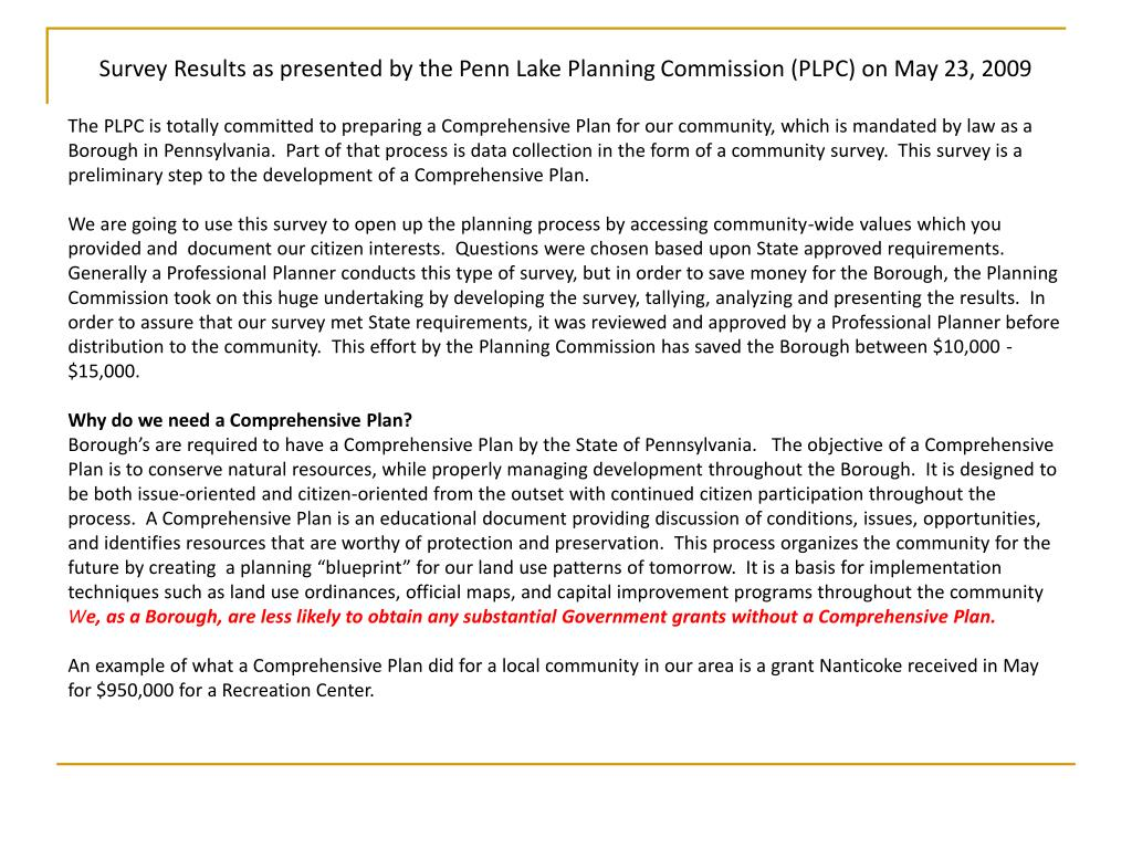 Survey Results as presented by the Penn Lake Planning Commission (PLPC) on May 23, 2009
