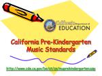 california pre kindergarten music standards