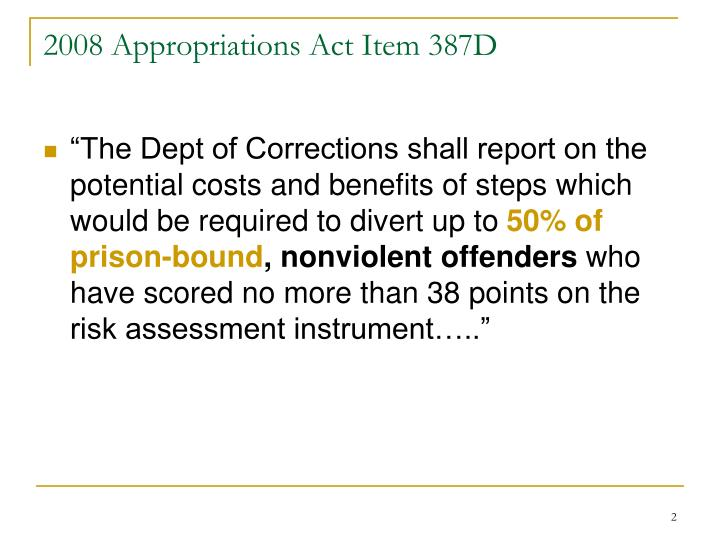 2008 appropriations act item 387d