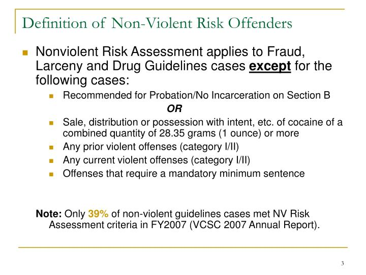 Definition of non violent risk offenders