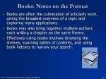 books notes on the format