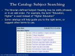the catalog subject searching