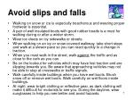 avoid slips and falls