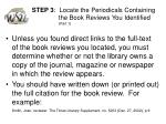 step 3 locate the periodicals containing the book reviews you identified part 1