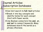 journal articles subscription databases