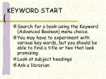 keyword start