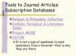 tools to journal articles subscription databases