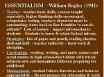 essentialism william bagley 1941