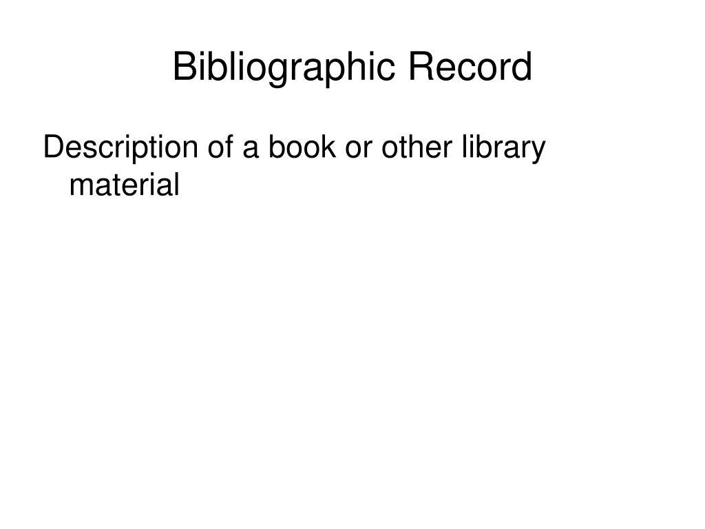 bibliographic record l.