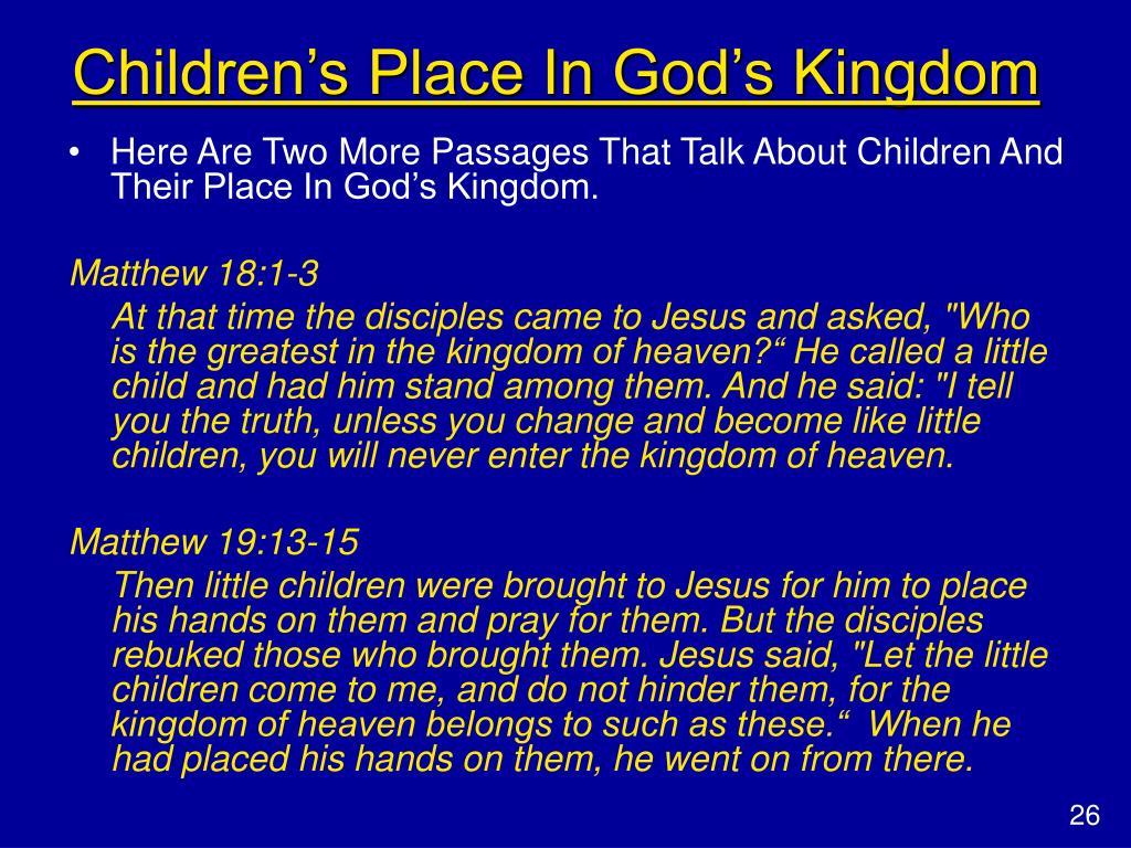 Children's Place In God's Kingdom