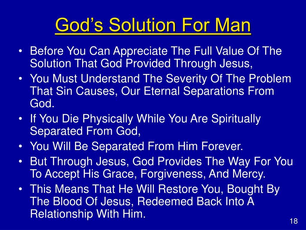 God's Solution For Man