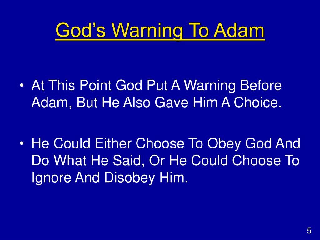 God's Warning To Adam