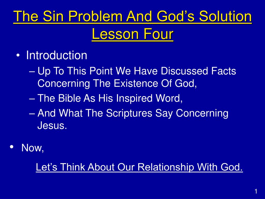The Sin Problem And God's Solution