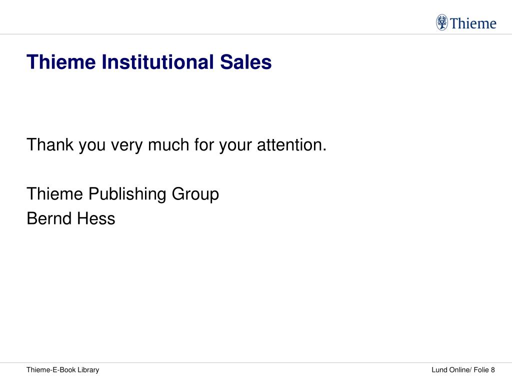 Thieme Institutional Sales