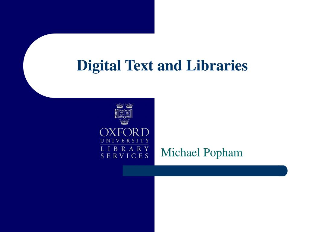 digital text and libraries l.