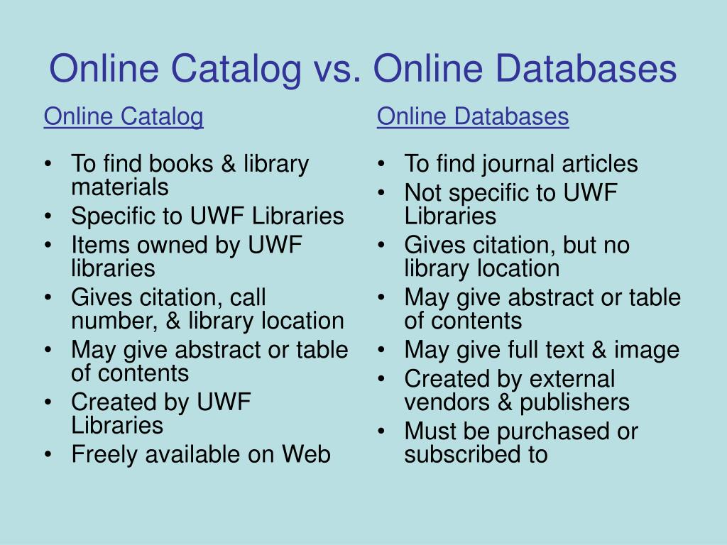 online catalog vs online databases l.