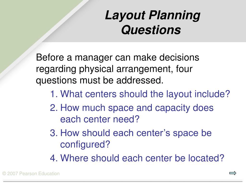 Layout Planning Questions