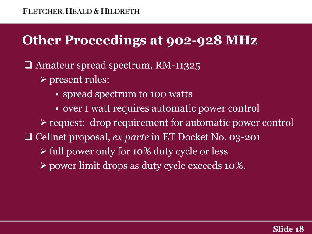 Other Proceedings at 902-928 MHz