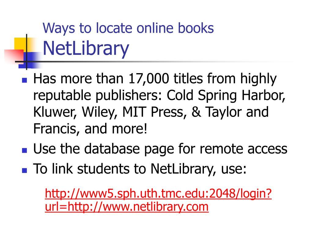 Ways to locate online books