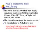 ways to locate online books netlibrary