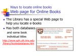 ways to locate online books web page for online books