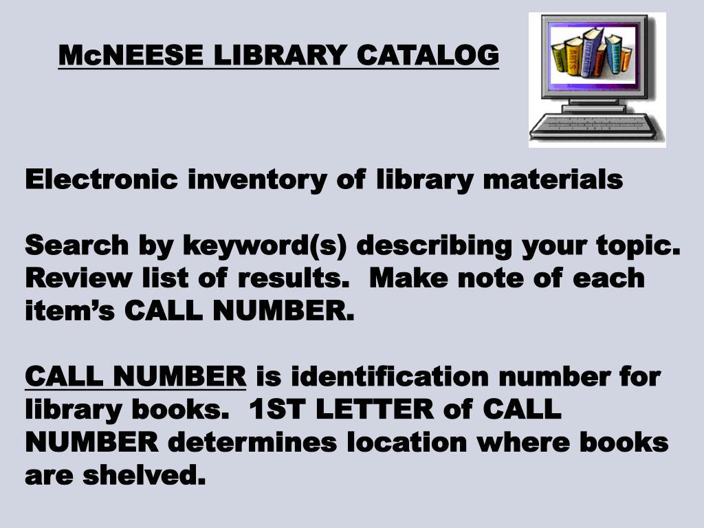 McNEESE LIBRARY CATALOG