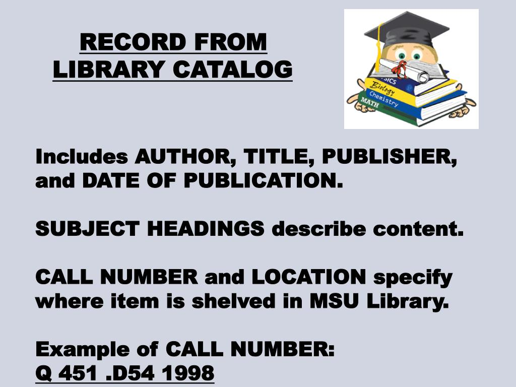 RECORD FROM LIBRARY CATALOG