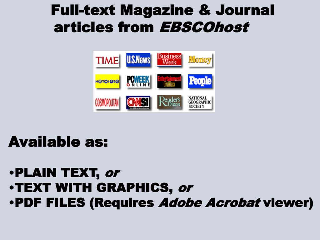 Full-text Magazine & Journal                                                                                                                                                                                                                                    articles from