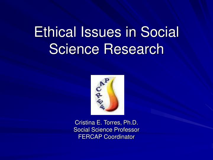 ethical issues in social science research n.