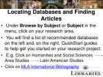 locating databases and finding articles