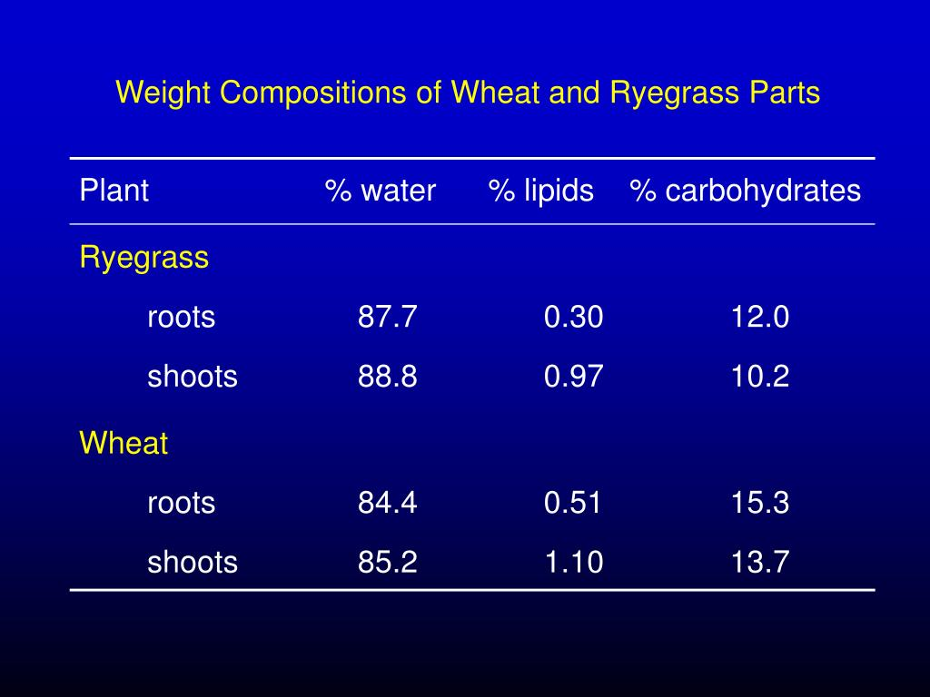 Plant		       % water      % lipids    % carbohydrates