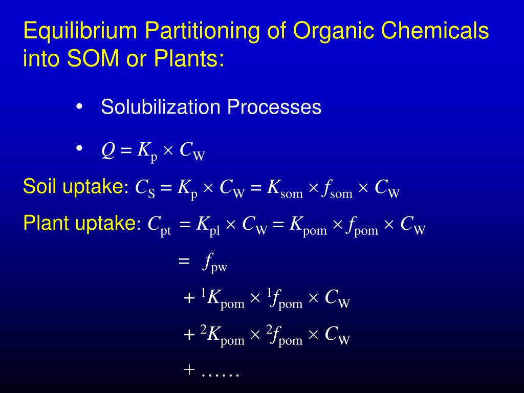 Equilibrium Partitioning of Organic Chemicals into SOM or Plants: