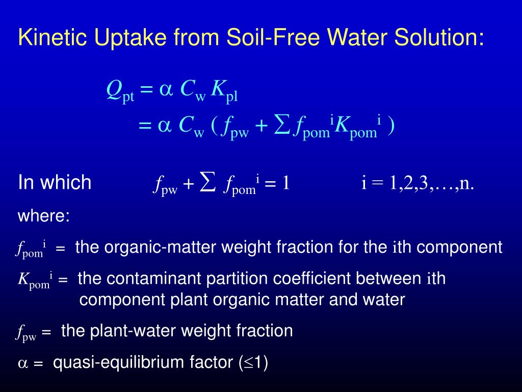 Kinetic Uptake from Soil-Free Water Solution: