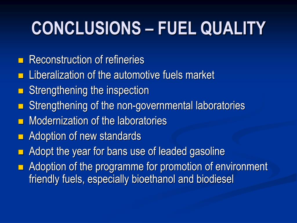 CONCLUSIONS – FUEL QUALITY
