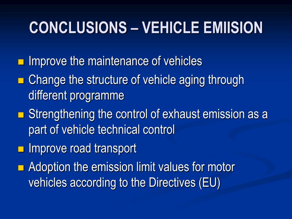 CONCLUSIONS – VEHICLE EMIISION