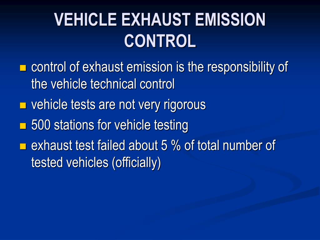 VEHICLE EXHAUST EMISSION CONTROL
