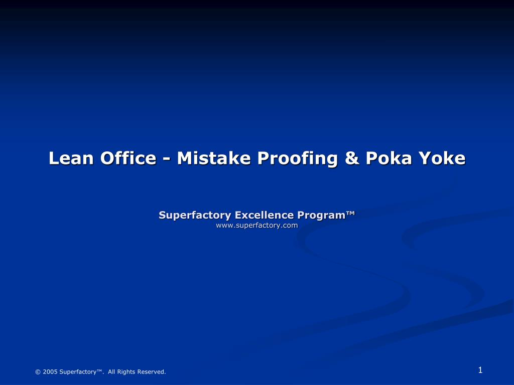 Lean Office - Mistake Proofing & Poka Yoke
