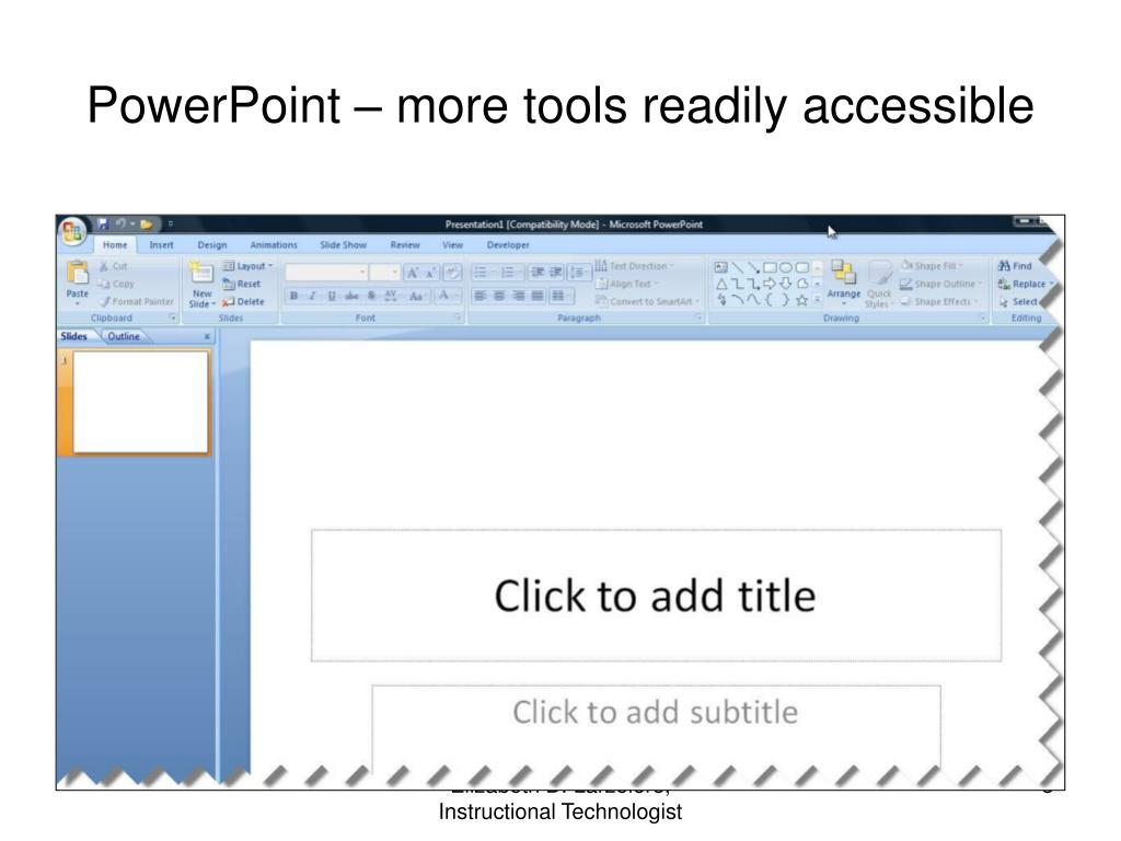 PowerPoint – more tools readily accessible